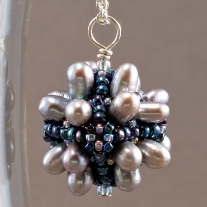 bubble box pearl pendant grey