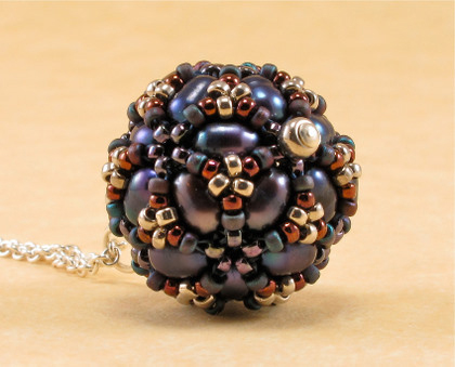 disco ball blue pearl pendant