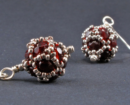 mini disco ball red earrings