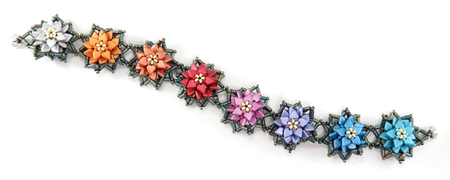 Rainbow Poinsettias Bracelet by Cindy Holsclaw